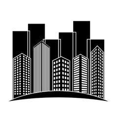 black buildings and city scene line sticker vector image vector image