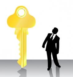 businessman looking big key vector image