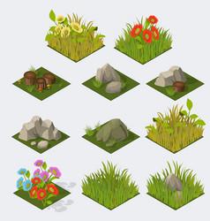 Set of isometric landscape tiles vector