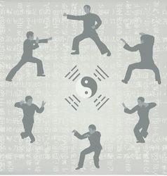 six men engaged in Kung Fu vector image
