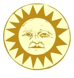Woodcut Sun vector image
