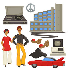 1970s fashion and architecture hippie style vector