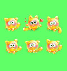 3d set of emotional little kittens vector