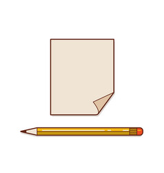 a note paper with pencil vector image