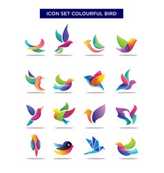 Abstract geometric birds icon set exotic colorful vector