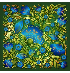 Abstract summer blue floral ornament on green vector