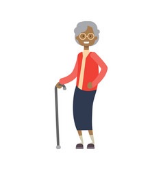 African grandmother with stick full length avatar vector