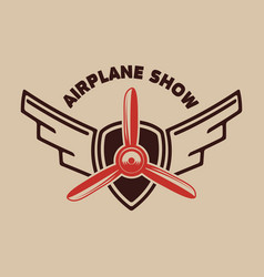 airplane show retro airplane propeller on winged vector image