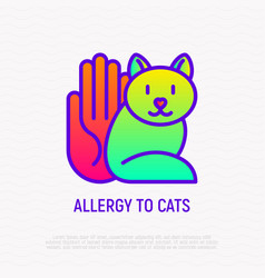 Allergy to cat thin line icon vector