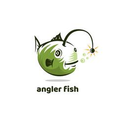 Angler fish funny vintage logo icon vector
