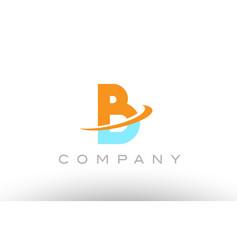 B orange blue logo icon alphabet design vector