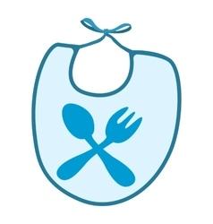 Baby bib with blue border cartoon icon vector image