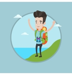 Backpacker with his hands up enjoying the scenery vector