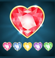 Beautiful diamond hearts vector