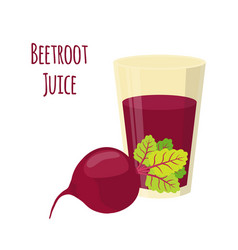 Beetroot juice beetroot and slices cartoon style vector