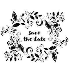 Black greeting or save the date card vector
