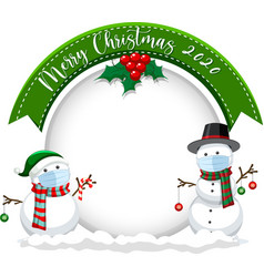 blank circle banner with merry christmas 2020 vector image