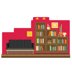 Cabinet and library books and knowledge flat and vector