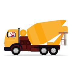 Cartoon driver man on truck concrete mixer vector