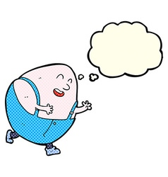 cartoon humpty dumpty egg character with thought vector image