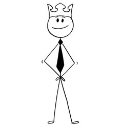 Cartoon of businessman who feels like a king with vector