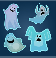 Cartoon spooky ghost character scary holiday vector