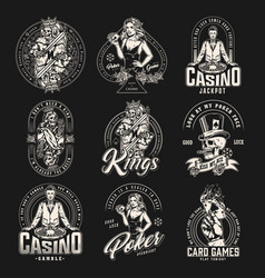 Casino and card game vintage emblems vector