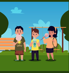 Caucasian and asian children boys and a girl vector