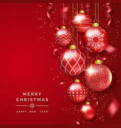 Christmas background with shining ribbons vector