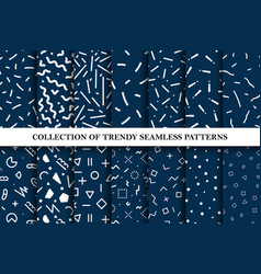 collection of memphis seamless patterns vector image