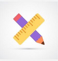 colored pencil and ruller trendy symbol vector image