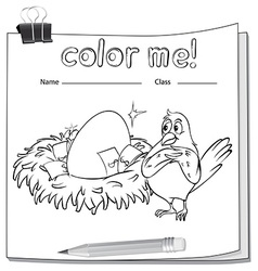 Coloring worksheet with a bird beside the nest vector image vector image