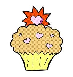 Comic cartoon love heart cupcake vector