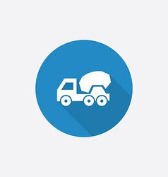 concrete mixer Flat Blue Simple Icon with long vector image