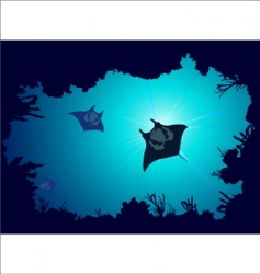 Coral reef with stingray vector