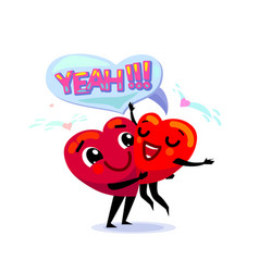 Couple in love two funny cartoon hearts one vector