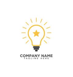 Creative light bulb and star logo design template vector