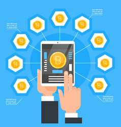 Crypto currency technology bitcoin exchange vector