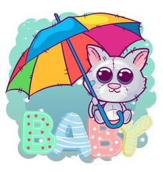 cute cartoon kitten with an umbrella vector image