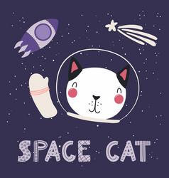 Cute cat in space vector