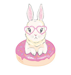 Cute little bunny with donut balloons hand drawn vector