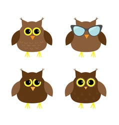 Cute owl set Big eyes sunglasses Icons on white vector