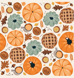 Cute seamless autumn pattern background autumn vector