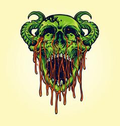 demon devil zombie skull blood vector image