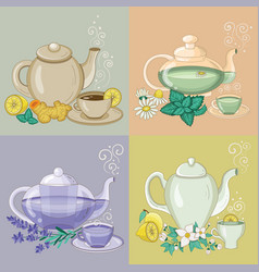 Different herbal tea in cups and teapots vector