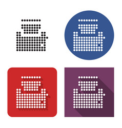 dotted icon toaster in four variants with vector image