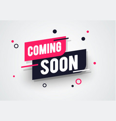 Dynamic label with coming soon text vector