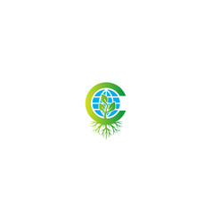 Earth plant green leaf organic botany logo vector