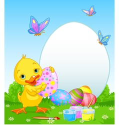 Easter duckling painting eggs vector