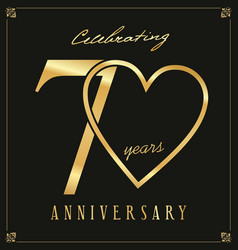 Elegant black and gold anniversary background 70 vector
